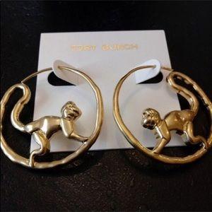 Tory Burch NWOT Monkey Gold Plated Hoop Earrings